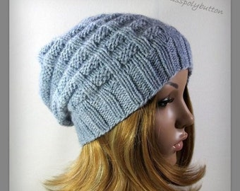 Knit Hat - Textured Slouchy Knit Hat - Pastel Blue - Women's Wool Hat - Winter Accessories