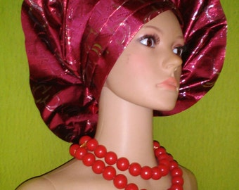 Burgundy Gele by Lois Crystal