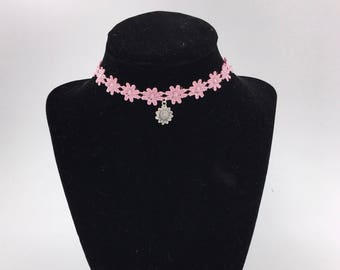 Flower Lace Choker- With Charm