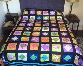 Queen size scrap quilt