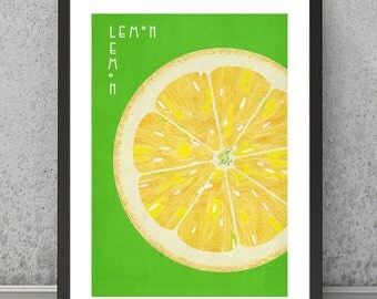 Lemon print, Lemon poster, Lemon art, Lemon wall art, Lemon wall decor, kitchen print, kitchen poster, fruit print, fruit poster