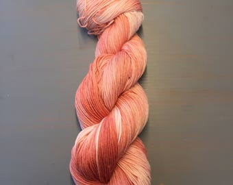 100g Superwash Merino / Nylon Sock Yarn, hand dyed in Scotland, using 100% Natural Lac, variegated