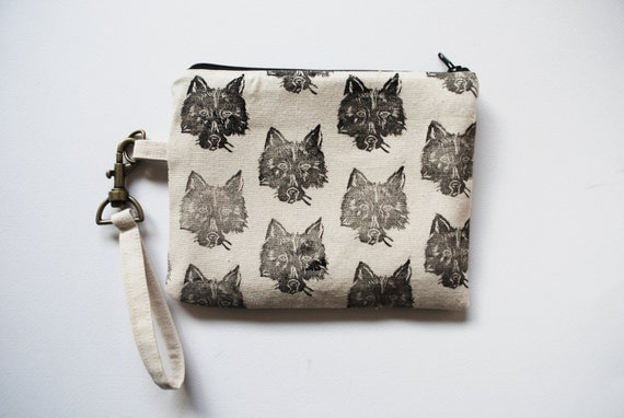 Wolf Wristlet Purse // Block Printed // Canvas & Black