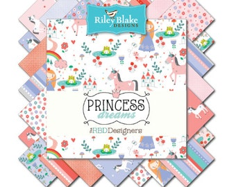 "Riley Blake Princess Dreams fabric collection - 5"" squares, 18 squares total"
