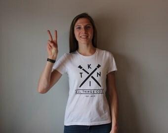 KNIT Tshirt- Black on White