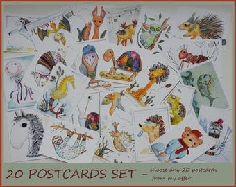 Postcards Set - Cards for Postcrossing - Animal Postcards - Funny Postcards - Blank Cards - Postcrossing - Cute Postcards - Small Cards -
