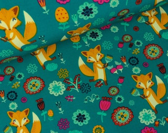 Softshell foxes in the wildflower meadow petrol (15,00 EUR / meter)