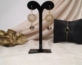 Chic silsjewels gemstone earrings with smoky quartz, sterling silver (925) 22 k vermeil gold on silver
