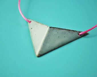 Pink pendant necklace with enamel