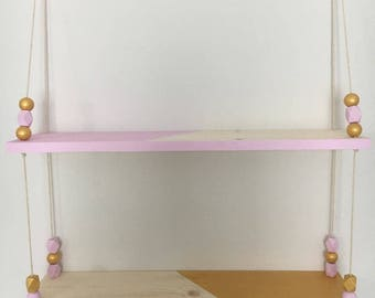 Shelf wooden pink and Golden at 2 levels of Scandinavian style swing