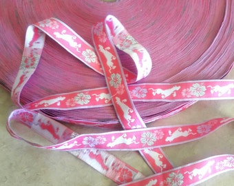 3/4 width, Embroidered NEON PINK Silver Hibiscus flower and horse ribbon lace trim, white flower ribbon, girls print, white horse, Hawaiian
