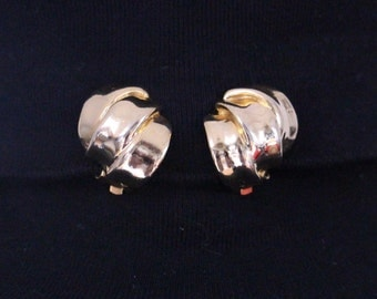Vintage gold-coloured, gold tone Clip earrings * free shipping *