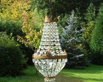 Very pretty vintage French brass empire chandelier (U900)
