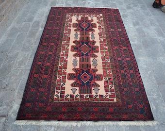6'8 x 3'10 FT Afghan Baluch rug 100% wool rug