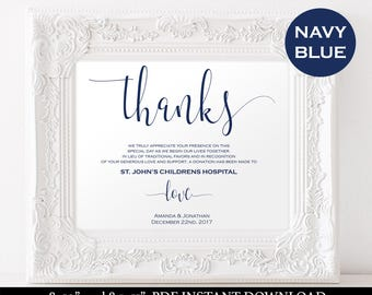 In Lieu of Wedding Favors  - Charity Printable - Thank You Wedding Donation Sign - Navy Blue Wedding - Downloadable wedding #WDH812108