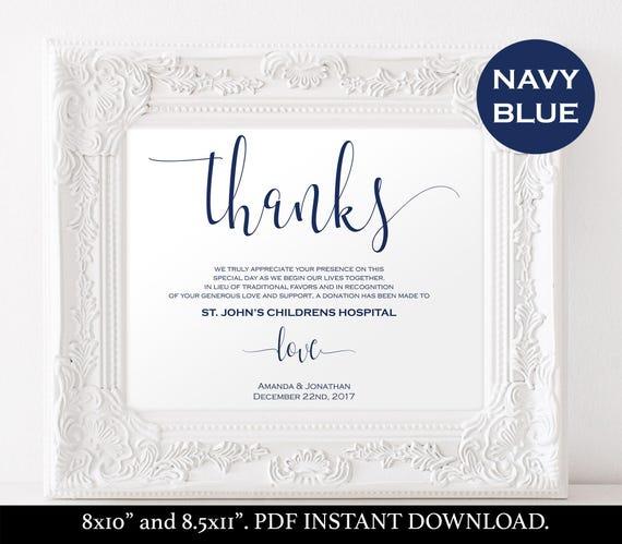 Printable Wedding Donation Favor Cards