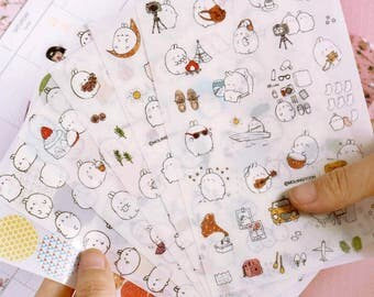6 sheets stickers Molang kawaii!