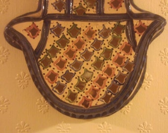 Ceramic Hamsa (Fatima)/ Hamesh (Miriam) hand wall mount or light