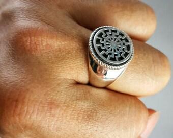 Sonnenrad German Schwarze Sonne Black Sun Wiccan Sterling Silver Ring