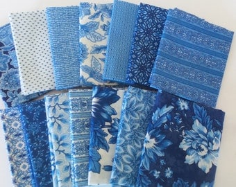 Country Manor Blue Colorstory Fat Quarter Bundle by Darlene Zimmerman for Robert Kaufman. 14 fat quarters from Darlene's fabric store.