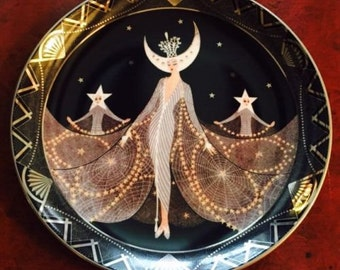 1995 Queen Of The Night 'House Of Erte' Limited Edition No MA2116 Royal Doulton Collectors Plate Pattern by Franklin Mint,Porcelain Plate,