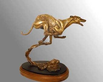 Running Greyhound bronze figurine by Leslie Hutto
