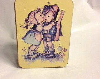 Rare 1970s Vintage Hummel Kissing Children Tin Box/German History/Berta Hummel