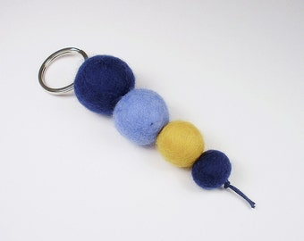 Keychain felted, felt beads blue yellow light blue dark blue