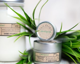 Soy Candle - Lemongrass Essential Oil - Spring Scents 2017