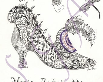 Marie Antionette to Manolo Blahnik Georgian Shoe Zentangle Art Print