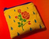 Yellow Denim Rose and Teardrop Hand Painted Coin Purse Zipper Pouch
