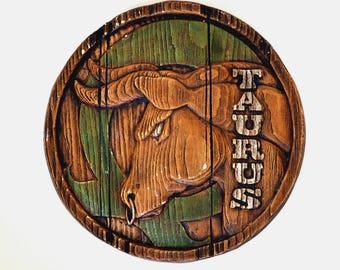 Vintage Taurus Wall Hanging, Zodiac Wall Decor, Hand Painted Chalkware Plaque, Faux Bois Plaster Plaque, Taurus Birthday Gift 321