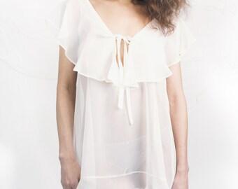 Cream Chiffon Nightwear Pretty- Sleepwear in Chiffon