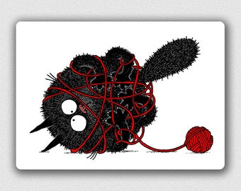 The Black Hairball And A Ball Of Yarn postcard