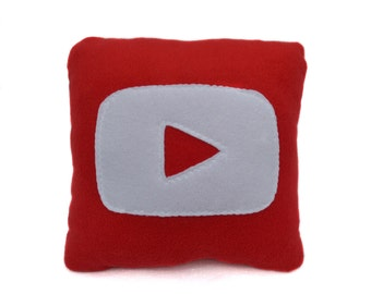 12 x 12 Red Youtube Pillow - handmade pillow - decorative pillow - geekery pillow