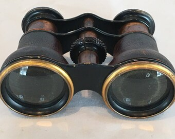 Antique Opera Glasses - copper/brass and leather