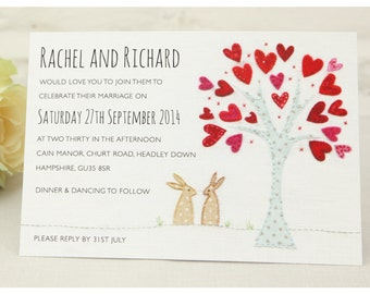 Stitched Bunnies Wedding Invitation - SAMPLE ONLY