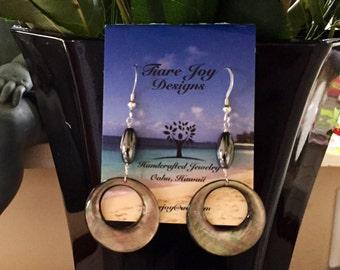 Abalone shell earrings.