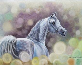 Horse Painting | Arabian Horse Art | Horse Pastel Painting | Equestrian Art | Horse Wall Art | Arab Stallion Artwork