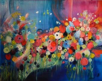 Lakeside Garden - Contemporary Art - oil and acrylic on canvas-