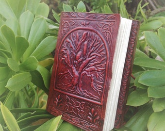 Leather Journal - Embossed Leather Notebook - Leather Travel Journal - Tree Of Life Leather Blank Book