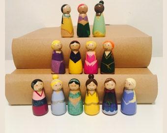 Disney Inspired Princess Peg Dolls - Hand Painted - Wooden Peg Dolls - Waldorf Toys - Waldorf Inspired - Princess - Homemade - Disney Gift