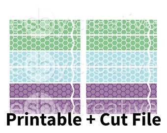 Green, Blue + Purple Hexagons - Header Covers Printable Planner Stickers for Erin Condren Horizontal + Cut File - HK-014 - INSTANT DOWNLOAD