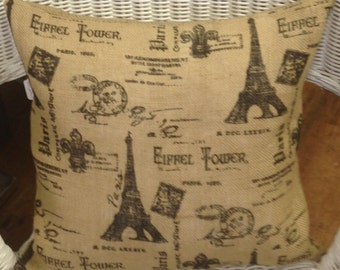 "Natural burlap handcrafted ""Paris"" toss pillow"