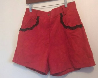 Vintage red leather shorts