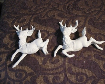 """Bisque Ready to Paint Christmas Bisque 2 Santa's Prancing Reindeer 5"""" x 4"""""""