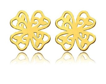 CLOVER earrings - STERLING SILVER plated gold, openwork earrings, stud earrings,  sterling silver 925 earrings