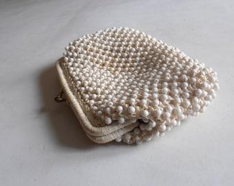 vintage white beaded clutch handbag purse