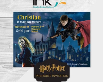 "Harry Potter 5x7"" Birthday Invitation - Instant Download - Editable - Edit Yourself - Harry Potter Party - Harry Potter Birthday"