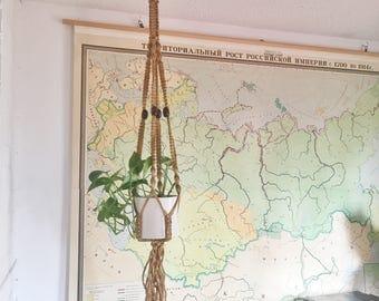 Vintage Jute Macrame Plant Hanger // Bohemian Decor